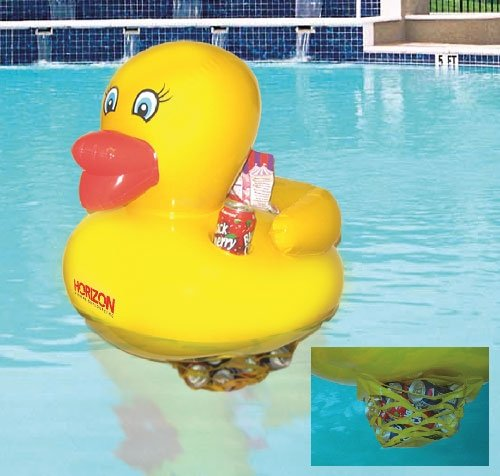 waddlers Swimming Pool Toy Rubber Duck Inflatable 24 Inches with Soft Drink Can Cooler and Holder, Brand Rubber Ducks Family, Best for All Depts. Birthday Anniversary Party Gift Pack