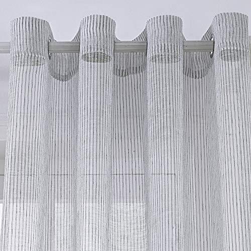 PimpamTex–Cortina Semi Traslúcida para Dormitorio,Salón o Habitación,1 Ud,Visillo semitraslúcido con 8 Ollaos,Cortina Elegante,Original,Variedad de Diseños y Colores – (140 x 260 cm, Raya Davi