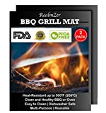 Realmzer BBQ Grill Mats Set of 2 - Size 15.75x13. Non-Stick Cooking Surface, Reusable Hundreds of Times. Healthy, FDA Approved, Dishwasher Safe for Outdoor Grill and Oven to 500 Degrees