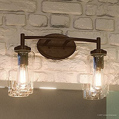 """Luxury Vintage Bathroom Vanity Light, Medium Size: 10""""H x 16""""W, with Antique Style Elements, Elegant Estate Bronze Finish and Seeded Glass, Includes Edison Bulbs, UQL2271 by Urban Ambiance"""