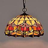 miwaimao Lámpara colgante de techo estilo Tiffany con diseño de tulipán rojo de cristal tintado retro europeo para dormitorio, sala de estar, comedor, cocina, terraza