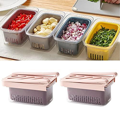 TAMRG 2 organizadores para el frigorífico, cajones ajustables, estante de almacenamiento para la nevera o la nevera (rosa)