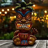 Yiosax Solar Lights Outdoor Garden Decor- Garden Statues and Tiki Figurines for Bar Patio Lawn Yard Decorations | Auto On/Off & Long Working Hours(10.43inch Tall)