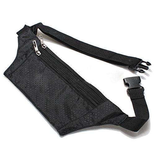 Dcolor unisex Bum Marsupio Handy Viaggi Sport Fanny Denaro portafoglio pack Belt Zip Pouch - Nero