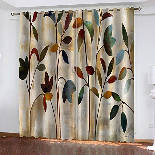 "Grommet Thermal Insulated Room Darkening Curtains Blackout Curtains for Bedroom Insulated Heavy Weight Textured Rich 2 Panels 140"" W x 160"" Hcm Vintage Flower"