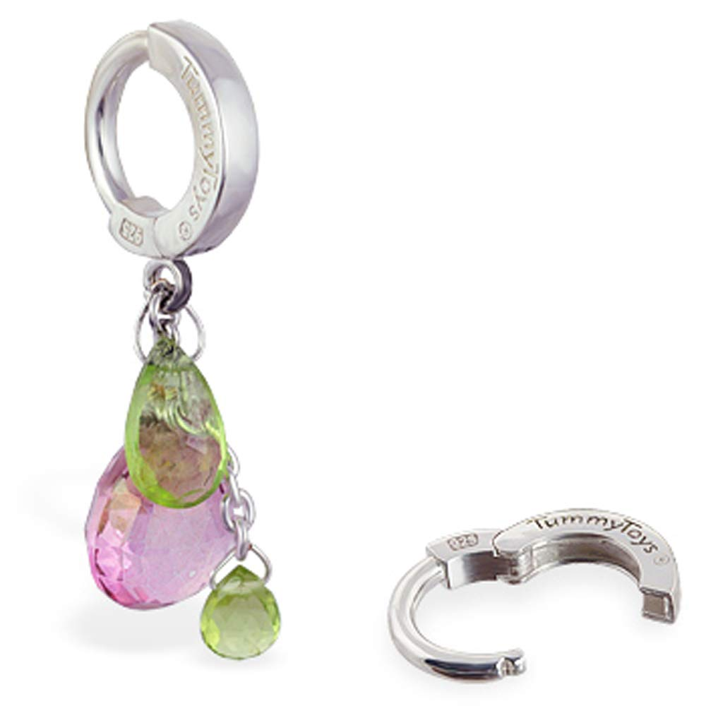 Pink and Green quartz Gem Belly Ring in by Max Today's only 63% OFF USA wome the Handmade