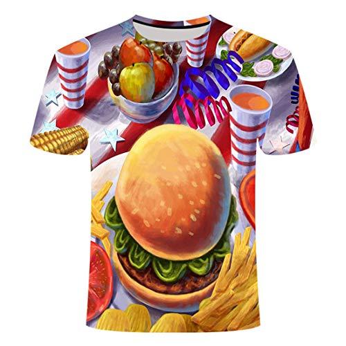 Nieuwe Zomer Kleding Ontbijt Voedsel Patroon 3D Korte mouw T-Shirt 3D Digitale afdrukken mannen Ronde hals Korte mouw T-Shirt