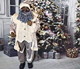 Fraser Hill Farm Gray Life-Size Indoor Christmas Decoration, 5-Ft. African American Santa Claus Holding Gift Sack & Wearing Velvet Suit w/Vest