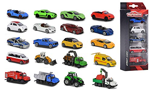 Majorette 212053166 5-Pieces, Miniaturfahrzeuge, 5er-Set, 4 versch. Ausführungen, Die-Cast, 7,5cm