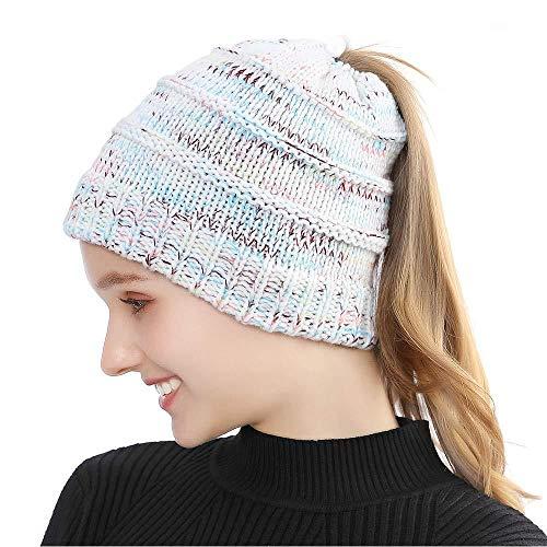 Xiaojie Gebreide muts voor dames, uniseks, gebreid, bonnet, ski, slouch, warme schedel beanie voor outdoor en dames en heren blend white ponytail bonnet