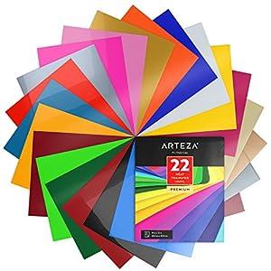 Arteza Papel de vinilo textil imprimible | Hojas de vinilo de papel transfer para camisetas y tejidos varios (25,4 x 30,5cm) | 22 colores surtidos