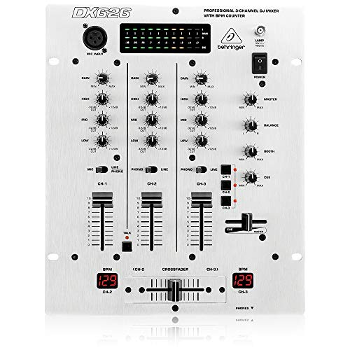 Behringer Pro Mixer DX626 Professional 3-Channel DJ Mixer with BPM Counter and VCA Control