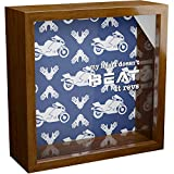 Motorcycle Enthusiast Gifts | A 6x6x2'' Themed Shadow Box for Motorcycle Lovers | Wooden Keepsake Display Case for Bikers | Home Decoration for Motorcycle Riders | Motorcyclist Novelty Present Idea