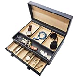 Stock Your Home MenÕs Dresser Valet Jewelry & Accessories Organizer Ð Faux Leather Ð Chocolate