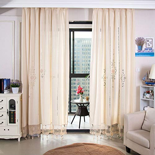 Beige Window Curtains with Tassel Cotton Line Flower Curtain Panel for Living Room Bedroom Retro Beige Semi-Shade Boho Window Decoration - 1 Piece, W59 inch x L70 inch