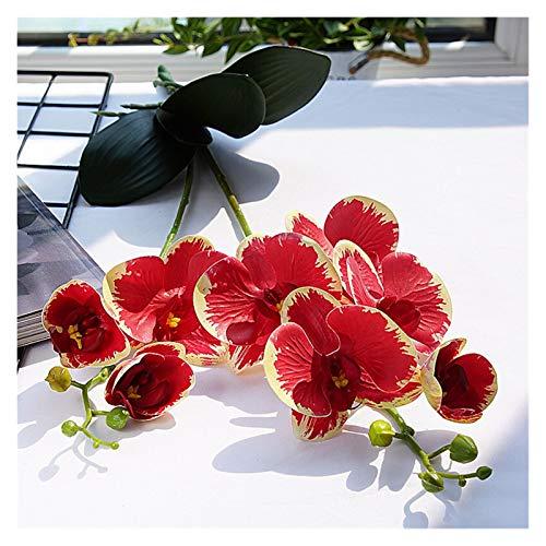 Zxebhsm Künstliche Blumen Orchidee Künstliche Blume Weiß Schmetterling Orchideen für Home Hochzeit Dekoration Hohe Qualität Gefälschte Blumen (Farbe : Rot)