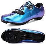 Hombres Bicicleta De Carretera Zapatos De Ciclismo Premium Microtex Zapatos Con Cleat Hombres SPD Zapatos Negro Blanco Hombres Ciclismo Spinning Zapatos, color, talla 42 1/3 EU