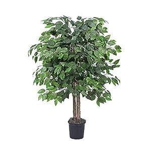 Vickerman 4′ Artificial Ficus Bush set in Black Pot