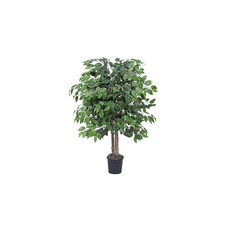 silk flower arrangements vickerman everyday 4' artificial potted ficus bush - lifelike home office decor - faux indoor potted bush