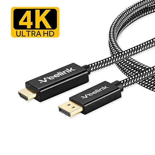 Veelink DisplayPort zu HDMI-Kabel 1.8M 4K @ 60Hz UHD DP zu HDMI-Kabel für Projektor HDTV-Monitor Desktop NVIDIA
