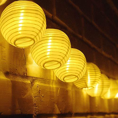 TR Turn Raise 4.8 Metros 20 LED Guirnaldas de Luces Farolillos Solares Exterior Impermeable para Decoración Jardines Casas Bodas (Blanco cálido)