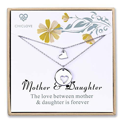 Mutter Tochter Set für zwei, Ausschnitt Herz Ketten, 2 Sterling Silber Halsketten Mother 's Day Geschenk (A - mutter tochter kette)