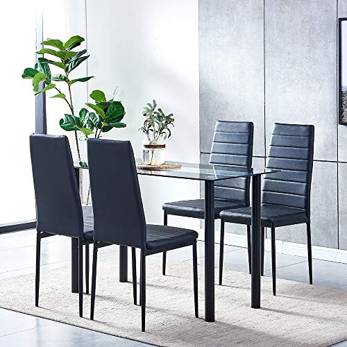 huiseneu Modern Black Glass Dining Room Chairs and Table Set 4 Faux Leather Chairs for Kitchen Furniture (1 Table 4 Chairs)