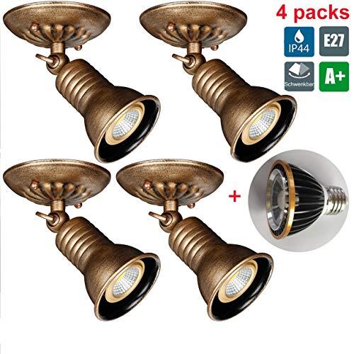 4 Packungen Antik Deckenstrahler, Deckenleuchten LED-Spot dreh- & schwenkbar Wand Badlampe,...