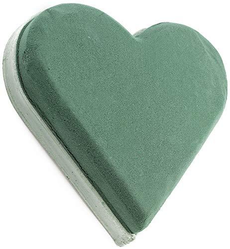 com-four® Steckmasse für Blumengestecke in Herzform - Steckschaum für Frischblumen - Steckschwamm zum Basteln für Hochzeit, Ostern und Geburtstag (01 Stück - Herz)