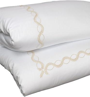 Dea Diana Embroidery Sateen Duvet Cover, Queen, White/Beige