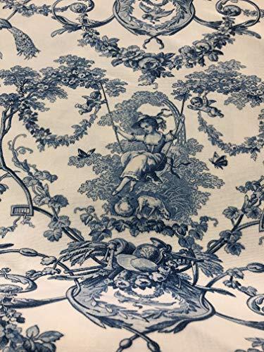 Tissu THEVENON imprimé toile de jouy Ludivine encre 280 cm de large