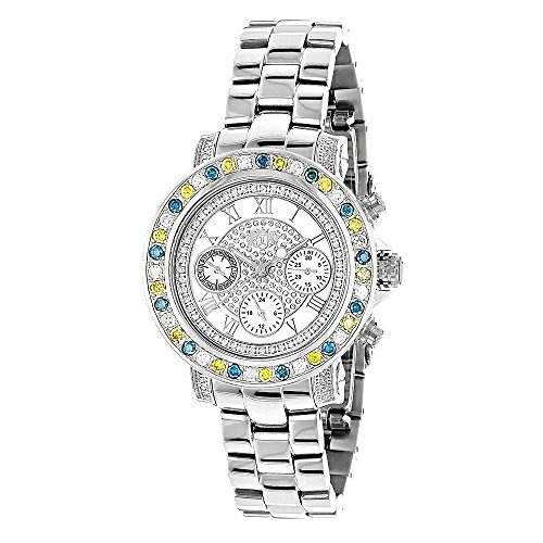 White Blue Yellow 2.75ct Diamond LUXURMAN Montana Watch for Women Swiss Quartz with Stainless Steel Band