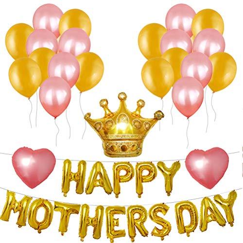 Amosfun Feliz Día de la Madre Globos Juego de Globos de Película de Aluminio Día de la Madre Carta de Globos para Decoración de Fiesta (Dorado)