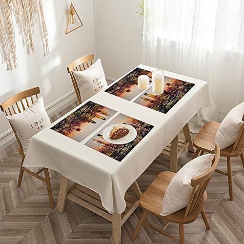 Sets de table de Rectangulaire lavables, durables, résistants à la chaleur et antidérapants,New York, décor, Global City Coucher de soleil avec la lumière,Salle à Manger de Cuisine de Fête (Lot de 4)