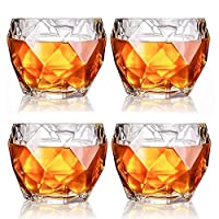 カクテルのためのメガネ昔ながらの飲酒S、アジオスコアメガネ、11オンス、2/4/6のセット、ウイスキーグラス (Color : 4 Pcs)