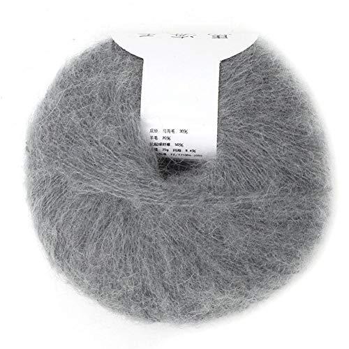 Hilo de lana de angora suave popular de Mohair para tejer de bricolaje (con un ganchillo)(light grey)