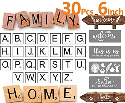 30 große Buchstabenschablonen zum Basteln, wiederverwendbar, Schablonen für Wandmalerei, Schablone für Familienwandkunst (15,2 x 15,2 cm)
