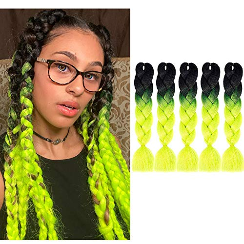 MYCHANSON Synthetic Jumbo Braiding Hair Three Colors 24inch Crochet ombre Braids Hair Extensions 5pcs(Black-Yellow-Green)