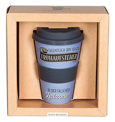 Grafik-Werkstatt Becher   Kaffeebecher   Coffee Trinkbecher   400 ml   -to-go   Frühaufsteher, blau, 9 x 9.5 x 14 cm