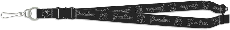 Pro Specialties Group New York Yankees Blackout Version Deluxe 2-Sided Lanyard Breakaway Baseball