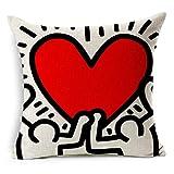 linyiming-kaodianop-1 Pop-Art Graffiti Herz Home Decor Kissen Leinen Baumwolle Kissen Hause dekorative Kissen Lendenkissen, grün, Abdeckung