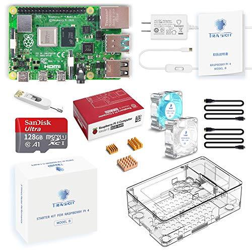 TRASKIT Raspberry Pi 4 Model B /ラズベリーパイ4B(8GB RAM)技適マーク付/MicroSDHCカード128GB NOOBSプリインストール/簡単に取り付けるケース/5.1V/3A Type-C スイッチ付電源/2つのMicroHDMI-to-HDMIケーブルライン/3つヒートシンクと2つの透明静音冷却ファン/カードリーダ /GPIOリファレンスカード/日本語取扱説明書/2年保証付