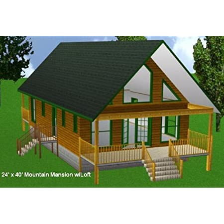 24x40 Cabin W Loft Plans Package Blueprints Material List Other Products Amazon Com Everything Else