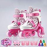 WEDSGTV Rollschuhe Quad Skates Schuhe Jugend Kinder Kinder Junior Boy Girl Skates Klingen Verstellbare Rollschuhe 2 Größe Der Schuhstiefel,Pink-23-28