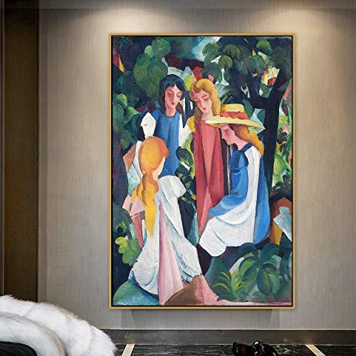 August Macke Cuatro chicas pinturas abstractas en lienzo carteles e impresiones decoración de pared de granja para decoración de sala de estar 30 x 45 cm 12 'x 18' (sin marco)