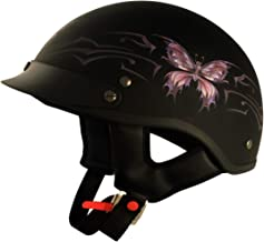 VCAN Cruiser Intricate Butterfly Flat Black Large Half Helmet
