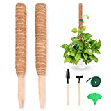 Moss Pole Plant Stakes Supports for Potted Plants - 2Pcs 16 Inches Moss Stick for Climbing Plant Coco Coir Poles