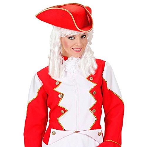 NET TOYS Piratenhut Funken Dreispitz Hut rot Tänzerin Karnevalshut Uniform Kopfbedeckung...