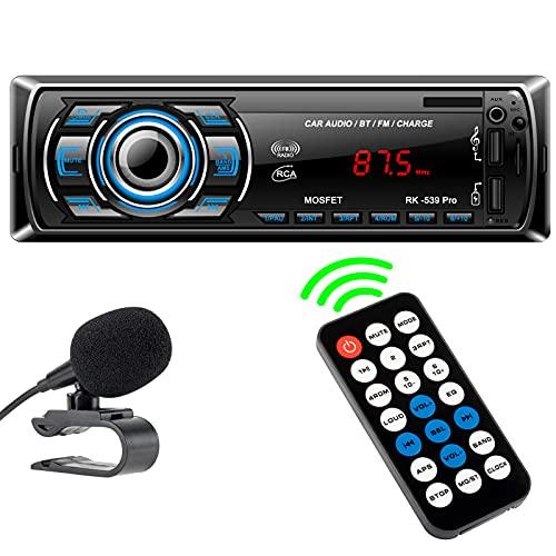 Autoradio LSLYA, Autoradio Bluetooth Vivavoce Stereo Auto con Due porte USB Supporta FM/ MP3/SD/AUX-IN/MMC/Remote Control/Microfono Esterno