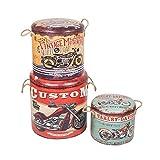 Set de 3 Taburetes Vintage Redondos Decorativos 'Motos Harley'. Muebles Auxiliares. Baúles. Cajas Multiusos. Regalos Originales. Decoración Hogar. 40 x 40 x 43 cm